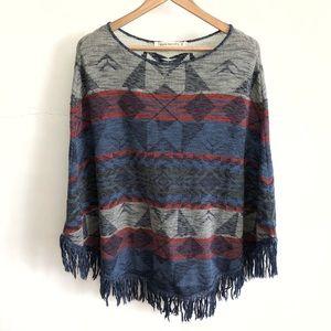 Hippie Laundry Gray/Blue Tribal Poncho Sweater-XL